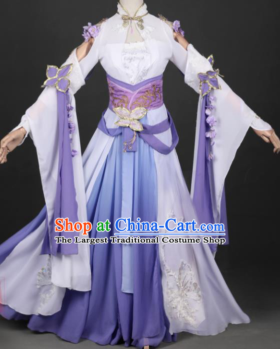 Traditional Chinese Cosplay Swordswoman Purple Hanfu Dress Ancient Peri Princess Costume for Women