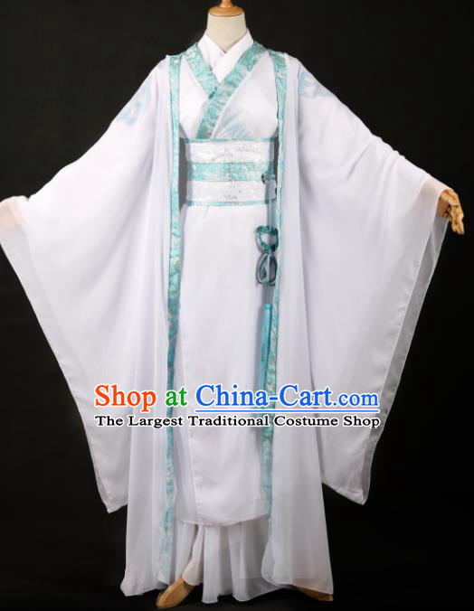 Traditional Chinese Cosplay Swordsman White Hanfu Clothing Ancient Nobility Childe Costume for Men