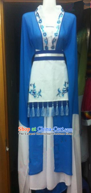 Chinese Traditional Peking Opera Embroidered Blue Dress Ancient Maidservants Costumes for Women