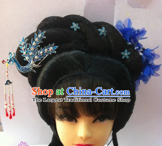 Chinese Traditional Ancient Beijing Opera Actress Wig Sheath and Hairpins Hair Accessories for Women