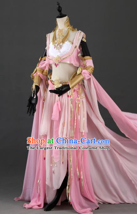 Traditional Chinese Cosplay Nobility Lady Pink Hanfu Dress Ancient Peri Princess Costume for Women