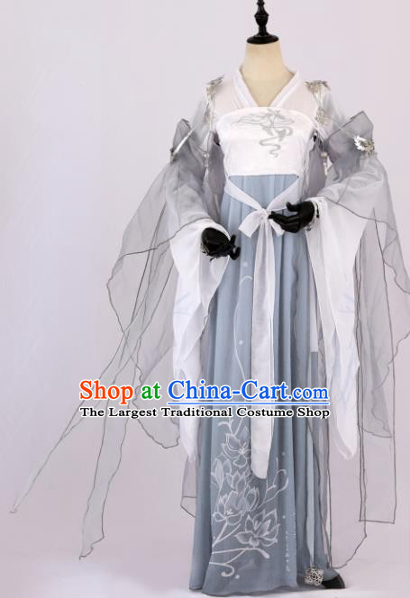 364321525 Traditional Chinese Cosplay Princess Grey Hanfu Dress Ancient Peri Costume  for Women