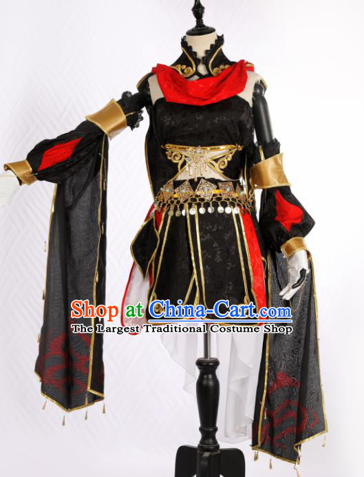 Traditional Chinese Cosplay Swordswoman Black Hanfu Dress Ancient Peri Costume for Women