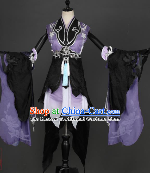 Traditional Chinese Cosplay Female Swordsman Purple Hanfu Dress Ancient Peri Costume for Women