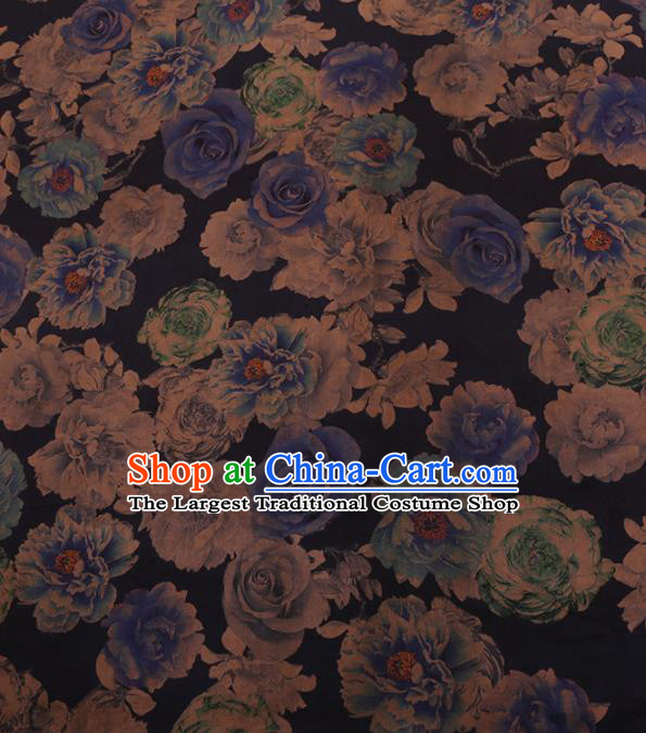 Chinese Traditional Cheongsam Blue Silk Fabric Palace Roses Pattern Jacquard Satin Plain Gambiered Guangdong Gauze