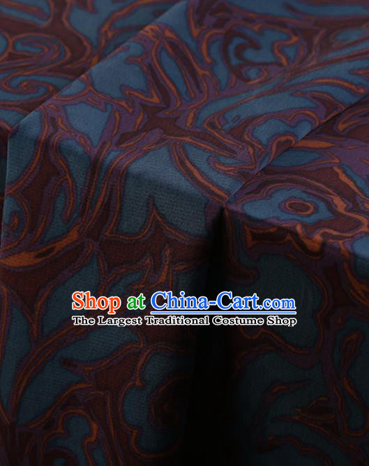 Chinese Traditional Blue Silk Fabric Palace Pattern Cheongsam Jacquard Satin Plain Gambiered Guangdong Gauze
