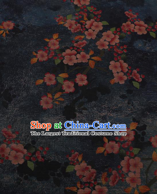 Chinese Traditional Drapery Navy Silk Fabric Palace Plum Blossom Pattern Cheongsam Satin Plain Gambiered Guangdong Gauze