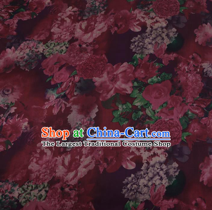 Chinese Classical Red Silk Fabric Traditional Peony Pattern Satin Plain Cheongsam Drapery Gambiered Guangdong Gauze