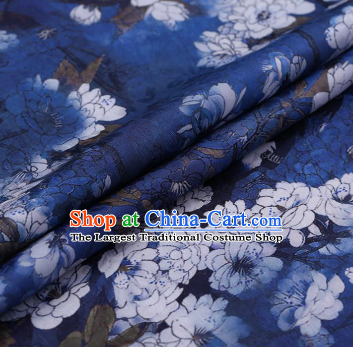 Chinese Classical Blue Silk Fabric Traditional Pear Flowers Pattern Satin Plain Cheongsam Drapery Gambiered Guangdong Gauze