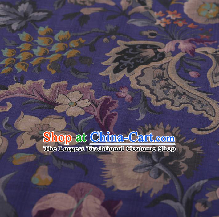 Chinese Traditional Purple Silk Fabric Classical Flowers Pattern Satin Plain Cheongsam Drapery Gambiered Guangdong Gauze