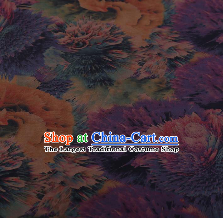 Chinese Traditional Silk Fabric Classical Pattern Purple Satin Plain Cheongsam Drapery Gambiered Guangdong Gauze