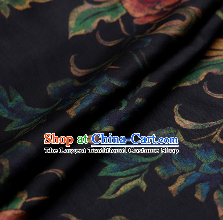 Chinese Traditional Silk Fabric Classical Peony Pattern Navy Satin Plain Cheongsam Drapery Gambiered Guangdong Gauze