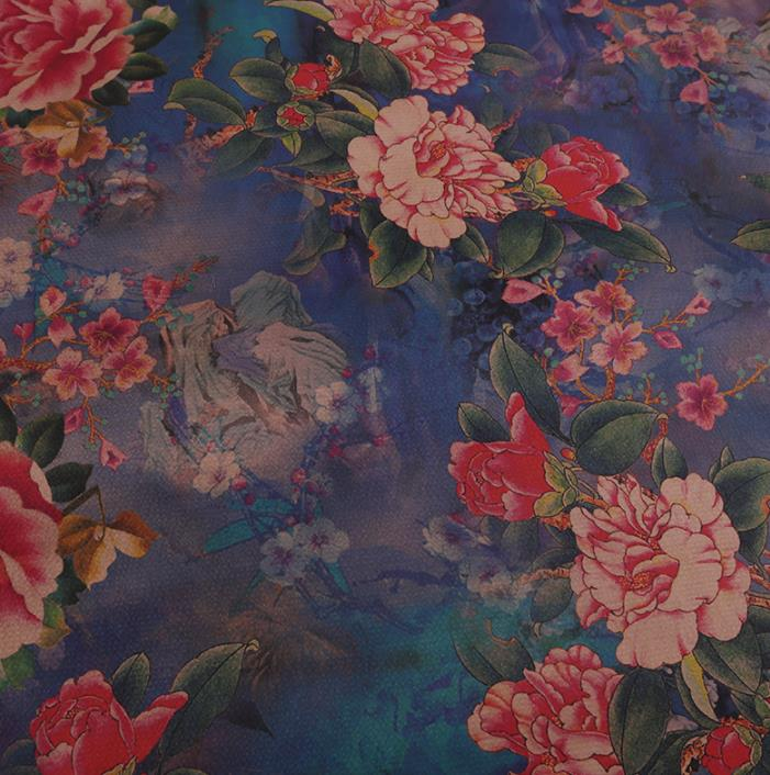 Chinese Classical Blue Silk Fabric Traditional Peony Pattern Satin Plain Cheongsam Drapery Gambiered Guangdong Gauze