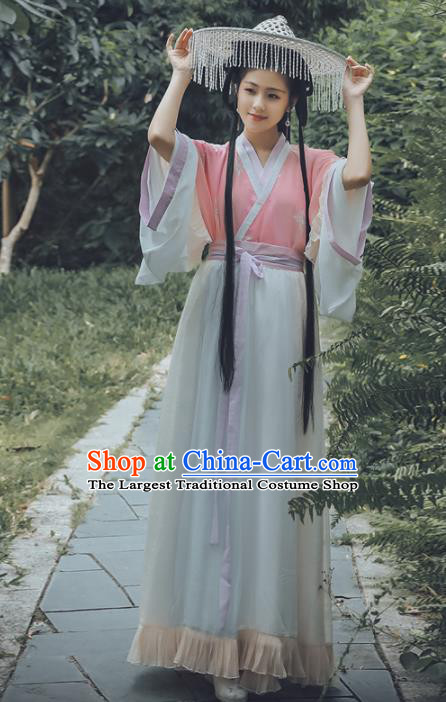 Chinese Wei and Jin Dynasties Nobility Lady Embroidered Costumes Ancient Peri Hanfu Dress for Women