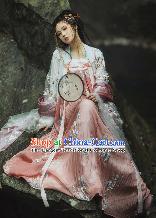 Chinese Tang Dynasty Princess Costumes Ancient Peri Palace Lady Embroidered Dresses for Women