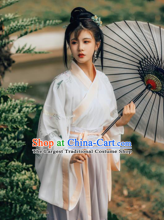 Chinese Jin Dynasty Princess Costumes Ancient Noble Lady Embroidered Dresses for Women