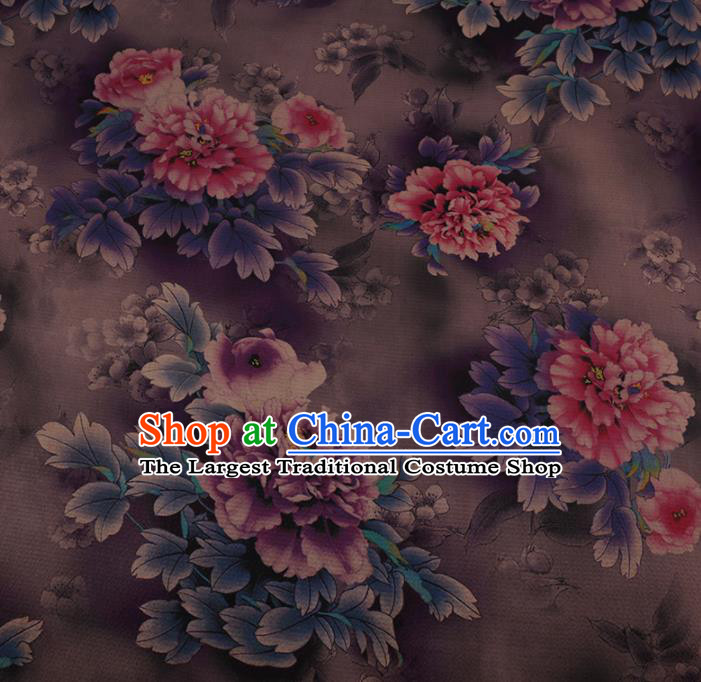 Chinese Traditional Silk Fabric Classical Peony Pattern Lilac Satin Plain Cheongsam Drapery Gambiered Guangdong Gauze