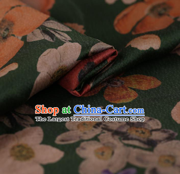 Asian Chinese Silk Fabric Traditional Classical Pattern Green Satin Plain Cheongsam Drapery Gambiered Guangdong Gauze