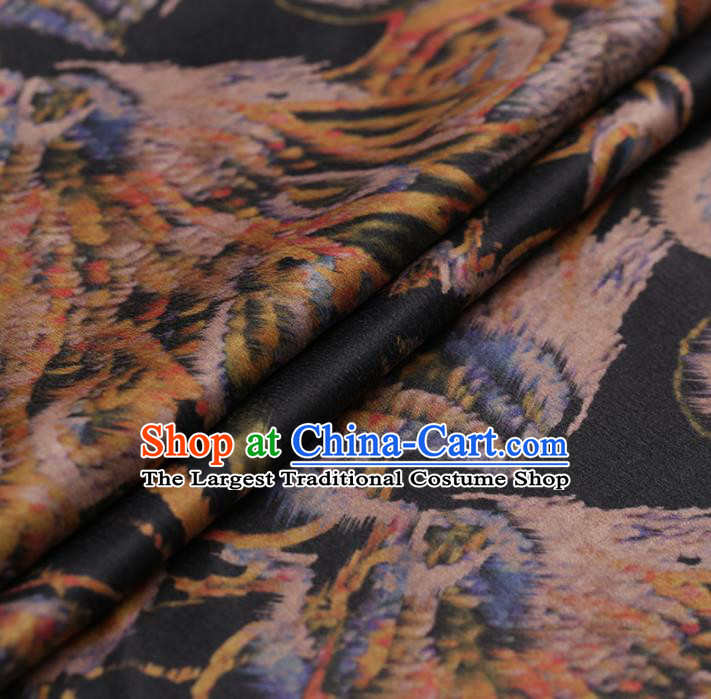 Asian Chinese Gambiered Guangdong Gauze Traditional Black Satin Plain Classical Pattern Cheongsam Silk Drapery