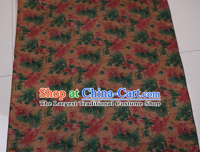 Traditional Chinese Bronze Gambiered Guangdong Gauze Satin Plain Classical Pattern Cheongsam Silk Drapery