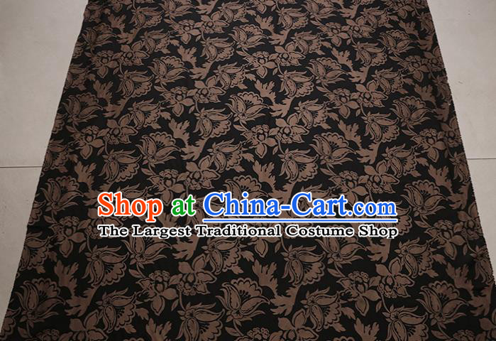 Traditional Chinese Black Gambiered Guangdong Gauze Satin Plain Classical Pattern Cheongsam Silk Drapery
