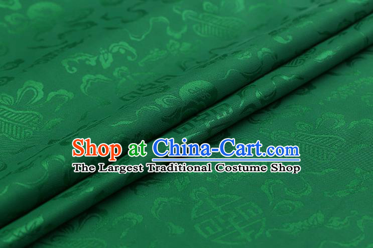 Traditional Chinese Green Brocade Palace Cucurbit Ribbon Pattern Satin Plain Cheongsam Silk Drapery