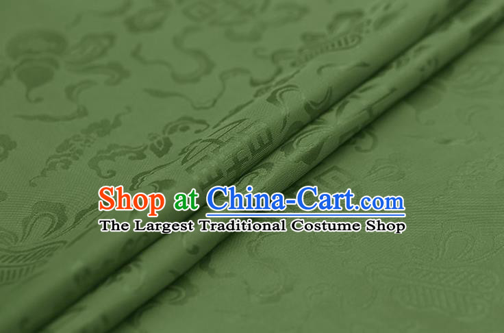 Traditional Chinese Olive Green Brocade Palace Cucurbit Ribbon Pattern Satin Plain Cheongsam Silk Drapery
