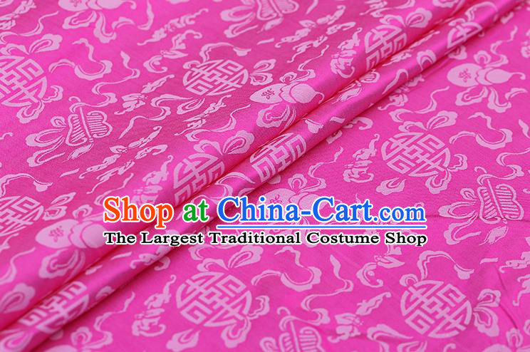 Traditional Chinese Rosy Brocade Palace Cucurbit Ribbon Pattern Satin Plain Cheongsam Silk Drapery