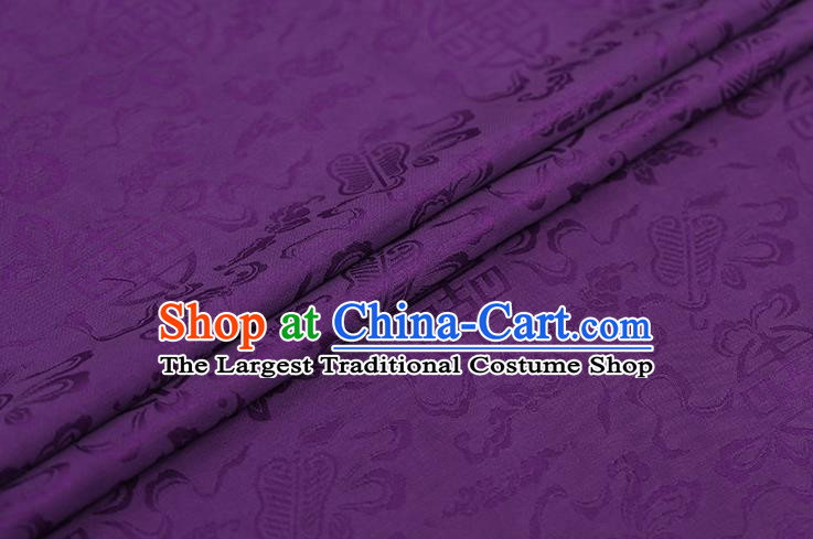 Traditional Chinese Deep Purple Brocade Palace Cucurbit Ribbon Pattern Satin Plain Cheongsam Silk Drapery