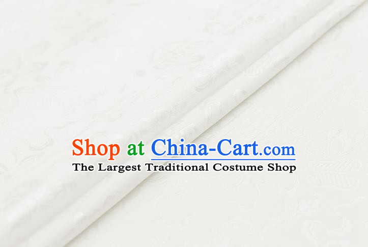 Traditional Chinese White Brocade Palace Cucurbit Ribbon Pattern Satin Plain Cheongsam Silk Drapery