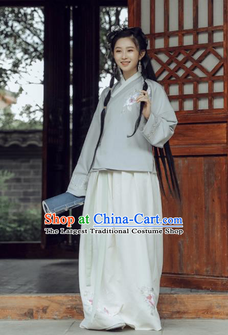 Chinese Ancient Ming Dynasty Hanfu Dress Young Lady Embroidered Costumes for Women