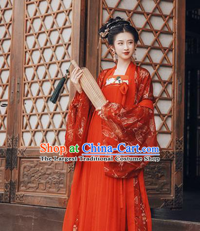 Chinese Tang Dynasty Wedding Red Hanfu Dress Ancient Imperial Consort Embroidered Costumes for Women