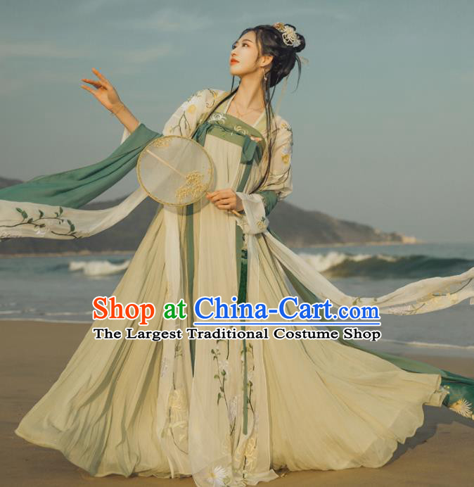 Chinese Traditional Tang Dynasty Historical Dress Ancient Princess Embroidered Costumes Complete Set