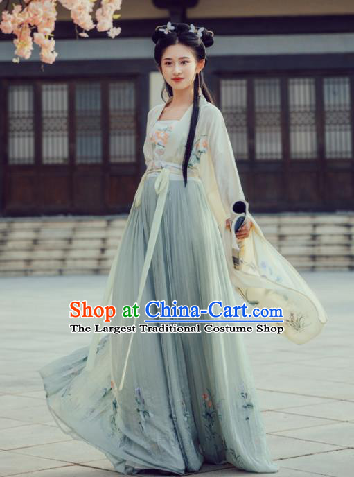 Chinese Ancient Tang Dynasty Princess Embroidered Costumes Hanfu Dress for Women