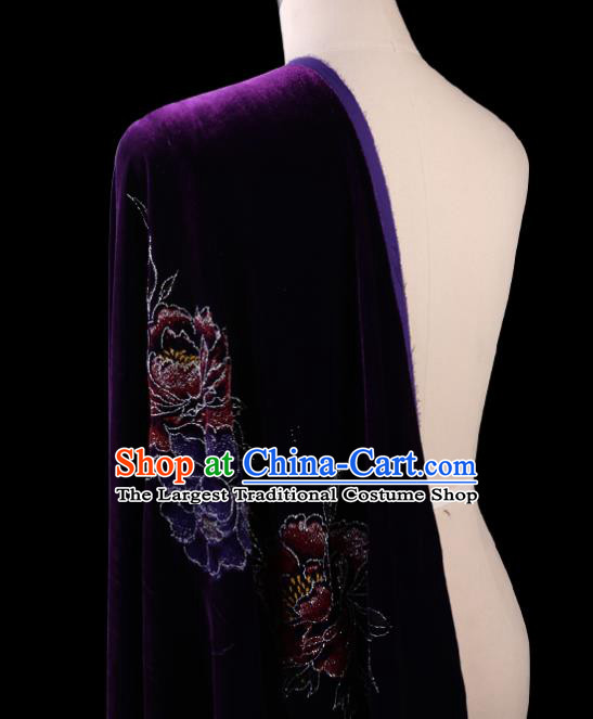 Chinese Traditional Purple Velvet Fabric Palace Pattern Cheongsam Pleuche Silk Drapery