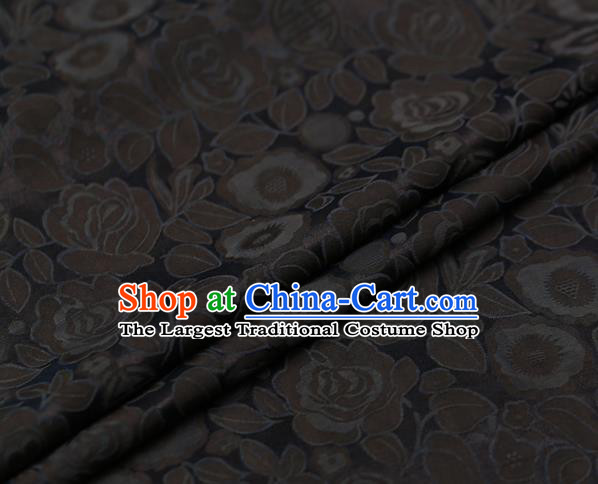 Chinese Traditional Gambiered Guangdong Gauze Fabric Palace Grey Peony Pattern Satin Plain Cheongsam Silk Drapery