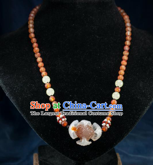 Chinese Traditional Jewelry Accessories Ancient Hanfu Icy Agate Lotus Necklace for Women