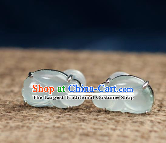 Chinese Traditional Jewelry Accessories Ancient Hanfu Icy Jadeite Rabbit Earrings for Women