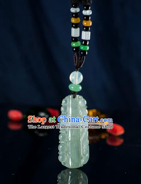 Chinese Traditional Jewelry Accessories Ancient Jade Carving Bamboo Necklace Jadeite Pendant