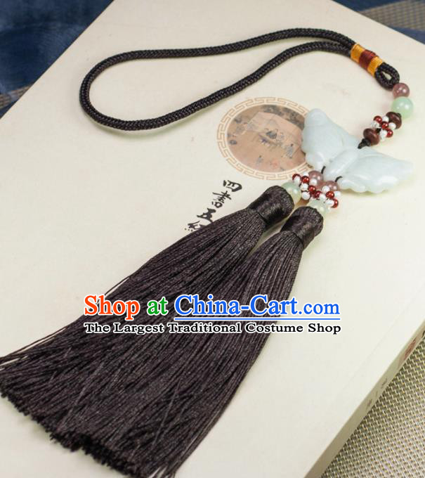 Chinese Traditional Jewelry Accessories Ancient Hanfu Brown Tassel Butterfly Jade Pendant for Women