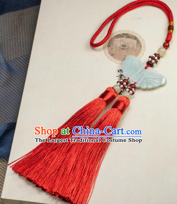 Chinese Traditional Jewelry Accessories Ancient Hanfu Red Tassel Butterfly Jade Pendant for Women