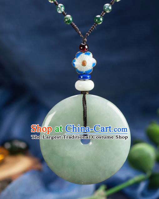 Chinese Traditional Jewelry Accessories Ancient Ice Jade Necklace Jadeite Pendant