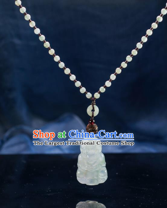Chinese Traditional Jewelry Accessories Ancient Ice Jade Avalokitesvara Necklace Jadeite Buddha Pendant