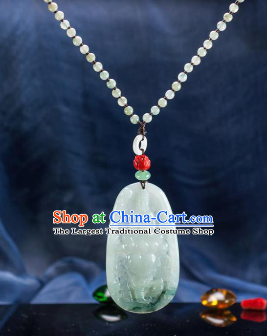 Chinese Traditional Jewelry Accessories Ancient Ice Jade Necklace Jadeite Carving Samantabhadra Bodhisattva Pendant