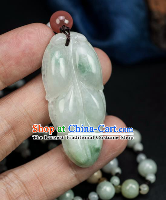 Chinese Traditional Jewelry Accessories Ancient Ice Jade Necklace Jadeite Carving Leaf Pendant