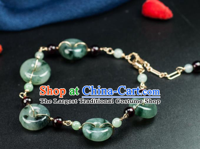 Chinese Traditional Jewelry Accessories Ancient Hanfu Jade Peace Buckle Bracelet for Women