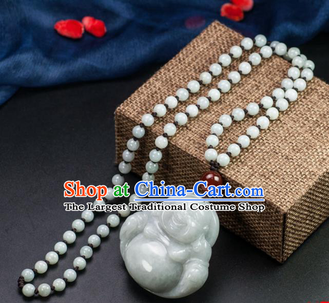 Chinese Traditional Jewelry Accessories Jade Buddha Pendant Ancient Jadeite Necklace