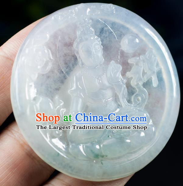Chinese Traditional Jewelry Accessories Icy Jade Buddha Shakyamuni Pendant Ancient Jadeite Necklace