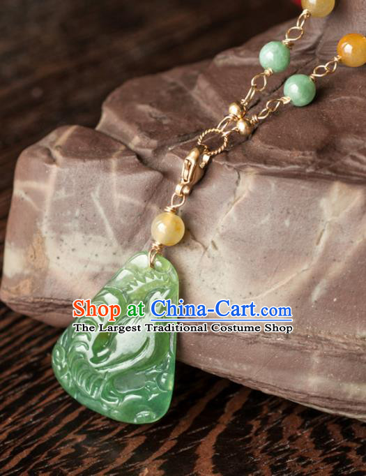 Chinese Traditional Jewelry Accessories Icy Zodiac Chicken Pendant Ancient Jadeite Necklace