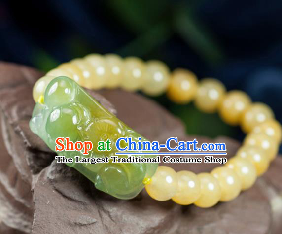Chinese Traditional Jewelry Accessories Yellow Jadeite Bangle Ancient Hanfu Bracelet for Women